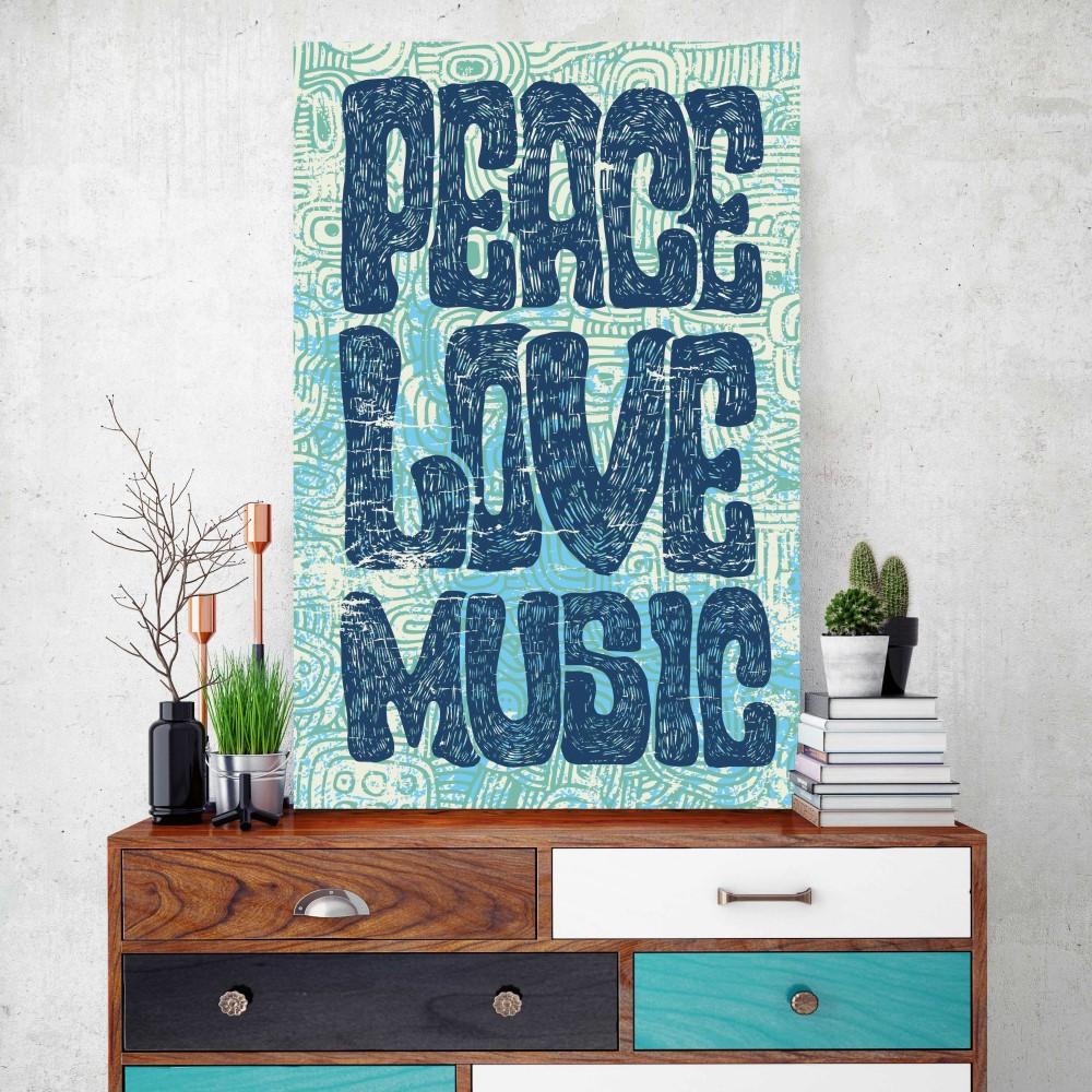 Placa decorativa peace love music stickdecor for Art decoration pl
