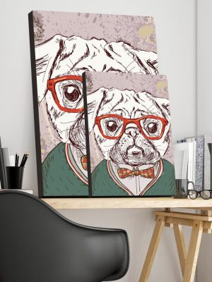 Placa Decorativa Pug Hipster
