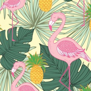 Placa Decorativa Tropical Flamingo