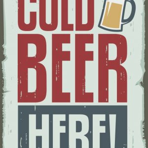 Placa Decorativa Vintage Cold Beer