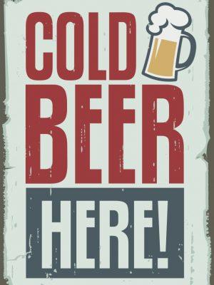 Placa Decorativa Vintage Cold Beer