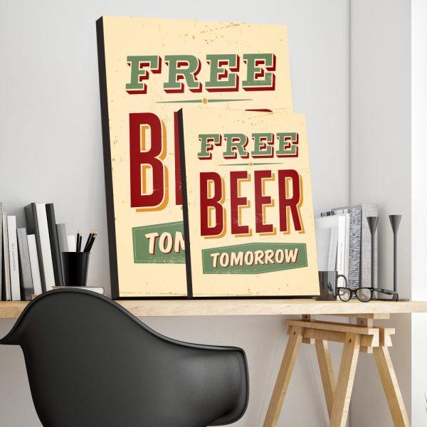 Placa Decorativa Vintage Free Beer Tomorrow