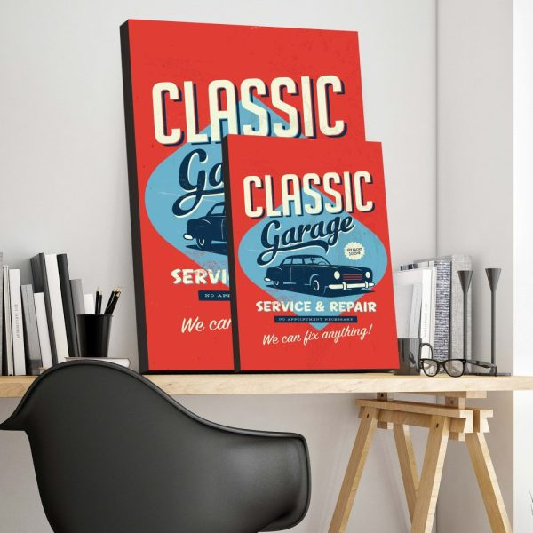 Placa Decorativa Vintage Garage Cars