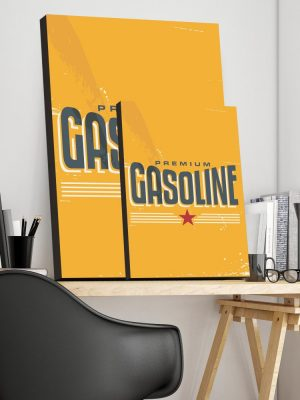 Placa Decorativa Vintage Gasoline