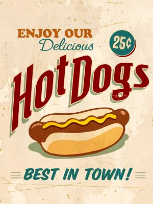 Placa Decorativa Vintage Hot Dogs