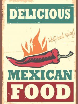 Placa Decorativa Vintage Mexican Food