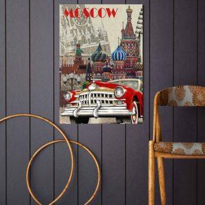 Placa Decorativa Vintage Moscow