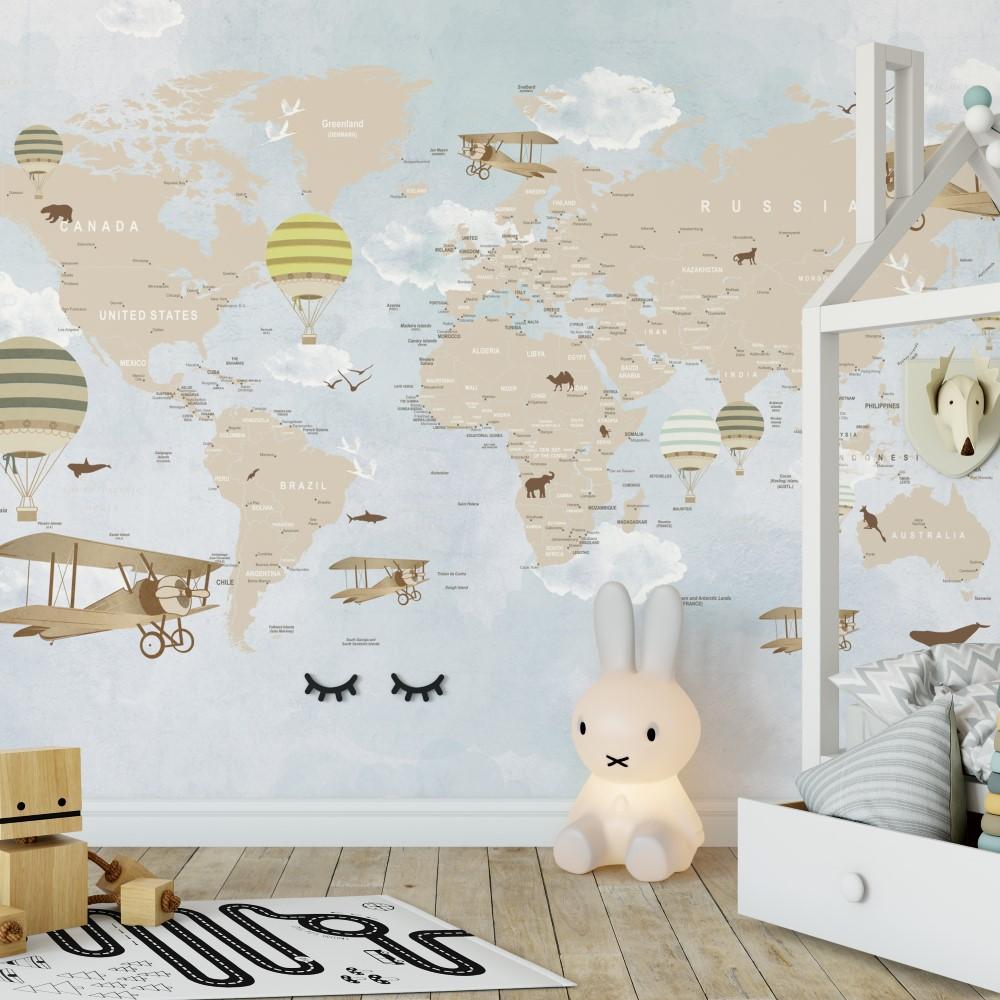Painel Fotogr Fico Mapa Mundi Infantil L Dico Bal Es Stickdecor