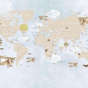 Painel Fotográfico Mapa Mundi Infantil Lúdico Balões