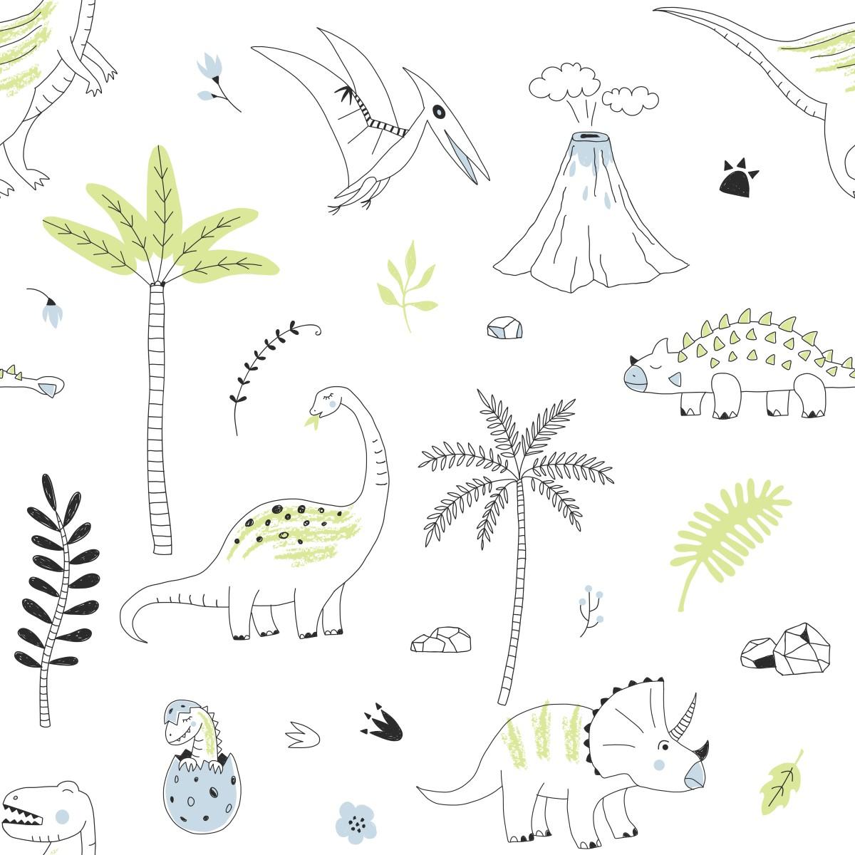 Papel de parede adesivo dinossauros stickdecor for Papel decomural infantil