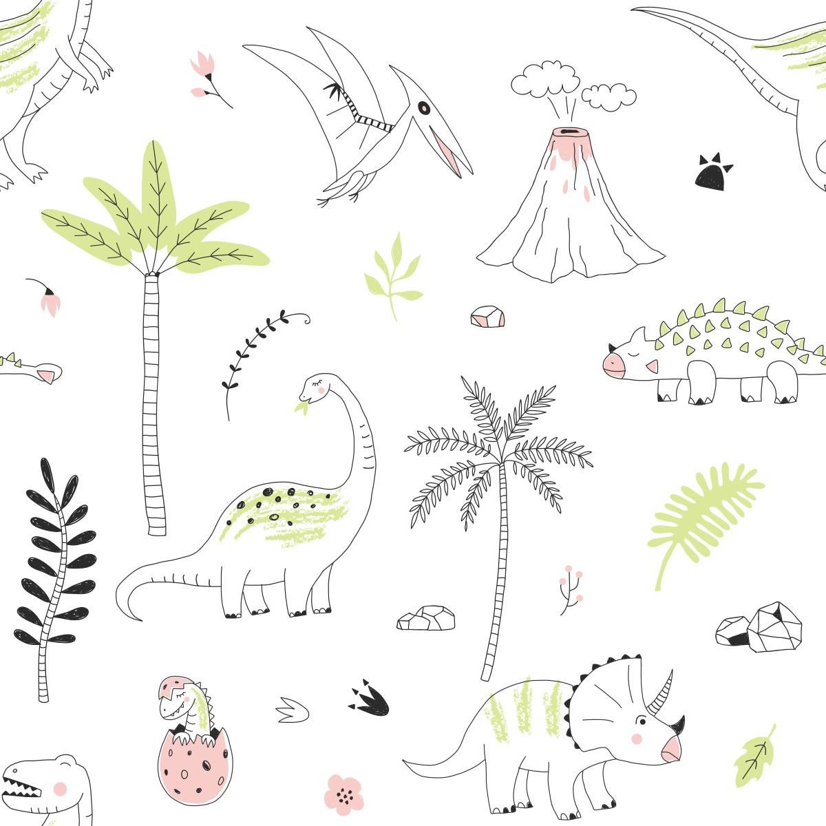 Papel de parede adesivo dinossauros stickdecor for Papel para pared infantil