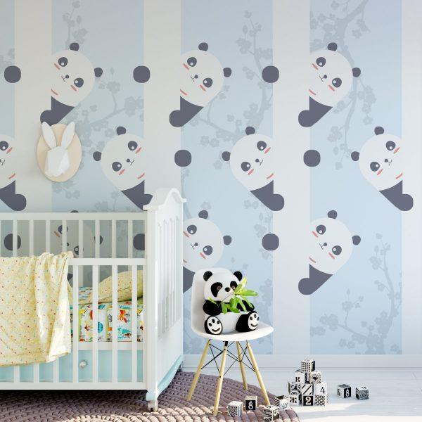 Painel Fotográfico Pandas com Cerejeiras