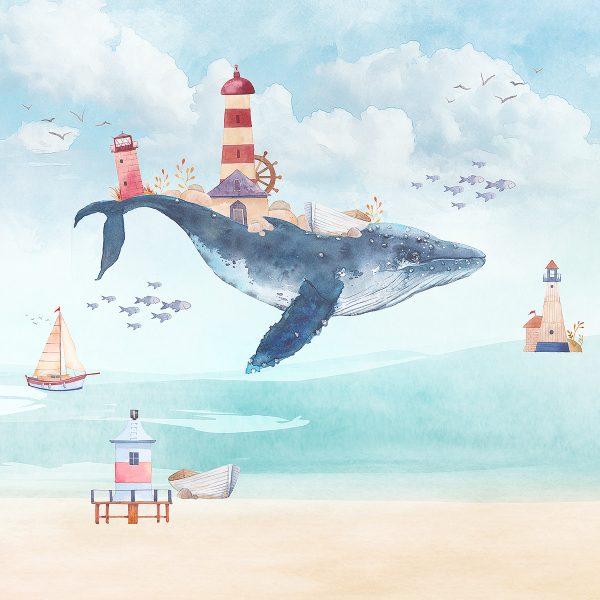 Painel Fotográfico Infantil Lúdico Baleia