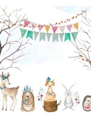 Painel Fotográfico Infantil Floresta com Animais